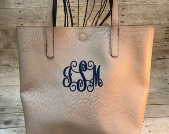 Tote bag, monogrammed tote bag, two tone tote bag, personalized tote bag, purse, shoulder bag, tote, gift for her