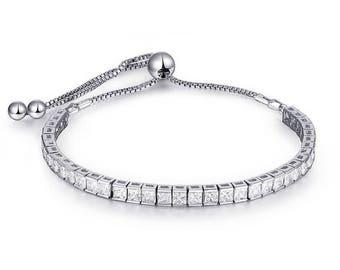 Adjustable Cubic Zircon Tennis Bracelet  for women
