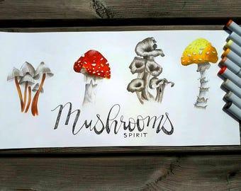 Watercolor original fungi / mushrooms watercolor original