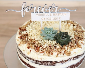 personalized CAKETOPPER with text and your name and date. Wedding cake | individual