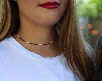 Maroon and white beaded necklace