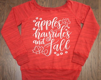 Apples Hayrides and Fall Y'all - Wide Neck Sweatshirt - Fall Sweatshirt, custom fall tee, custom fall sweater, fall y'all long sleeve, fall