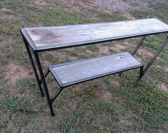 Modern table/shelf with rustic barnwood.