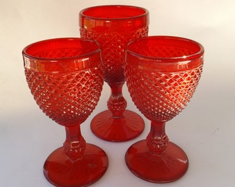 Vintage Diamond Point Ruby by IVIMA 2 Wine and 1 Water Goblets