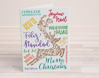 Christmas Around the World - Christmas Card - Merry Christmas - Different Languages - Reindeer Christmas Card - Designer Greeting Card
