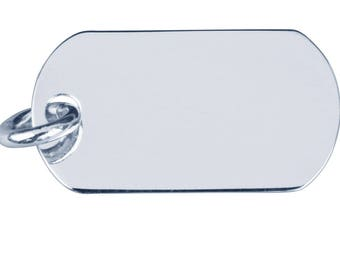 Plate GI silver sterling 925/1000.Dimension 23 x 12.80 x 0.40 mm. Round bail included