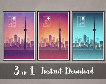 TORONTO Skyline Instant Download Art Toronto Art Toronto Skyline Toronto skyline Toronto wall art Toronto Skyline print