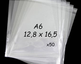 50 self-adhesive bags for A6 cards x