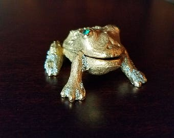 Green Eyed Gold Frog Trinket Pill Box