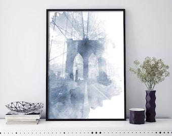 Brooklyn Bridge, New York Watercolour Print Wall Art   4x6 5x7 A4 A3 A2