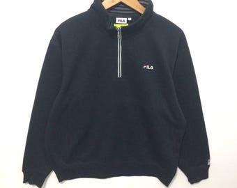 Vintage Fila Black Color Half Zippup  jumper Pullover adult Large size naiss design
