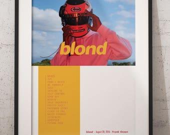 Frank ocean blonde poster, frank ocean album art blonde poster, frank ocean art, frank ocean blonde, frank ocean album print poster