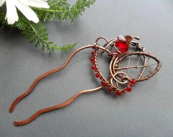 Hair fork, Metal hair clip, Hair jewelry, Bun holder, Copper hair pin, Wire hair accessories, Hair stick, Wire hair comb, Women gift hair