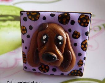 Adjustable filigree square 25 * 25 mm color antique bronze ring with dog polymer clay