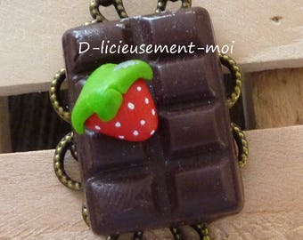 Filigree lace adjustable bronze metal Adjustable ring Strawberry on chocolate polymer clay