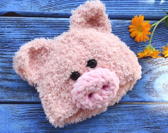 Blythe Hat Pink Blythe Pig Hat Handmade Knitted Pig Cap Blythe Outfit Blythe Doll Clothes Blythe Hat Blythe Helmet Blythe Pig