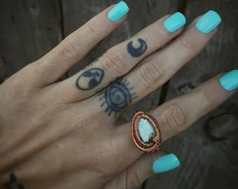 NEW! Arizona Blue Turquoise in Copper Wire Wrapped Ring- sz 6