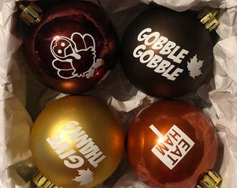 Thanksgiving Ornaments Fall Shatterproof Tree Ornaments Set of Four!