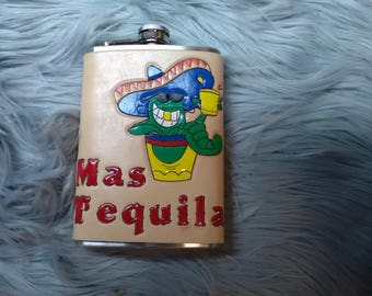 Leather wrapped 8 ounce flask. Mas Tequila.