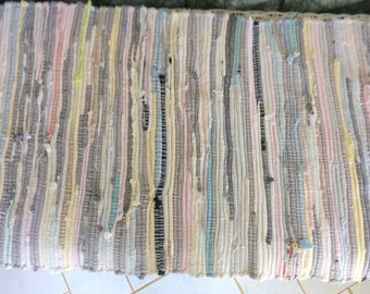 "Vintage Handmade Rag Rug, 43""21"", 3"" Fringe, Pastels, Very Good Condition!"