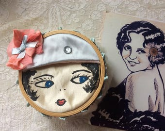 Flapper Powder Puff, Silk Painted Face, Silk Ribbon Work, Satin Cap, Natural Lambs Wool