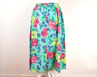Vintage Floral Skirt, Size 14-16, Long Floral Skirt, Summer Skirt, Bright Vintage Skirt, Boho Style, Vintage Gift, Gift for Women,