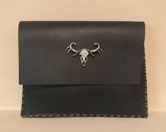 Black Leather Diamond Deer Skull Clutch
