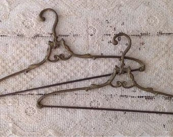 Set of 2 Antique French Ornate Brass Pant Hangers