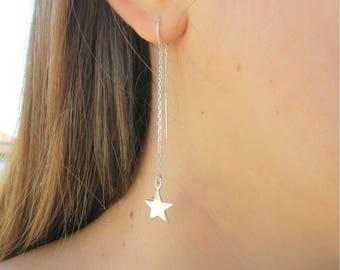 Star Thread Earrings, Gold Filled Threader Earrings, Stars Earrings, Star Fall Earrings, Fashion Earrings, Constellation Earrings, Sterling.