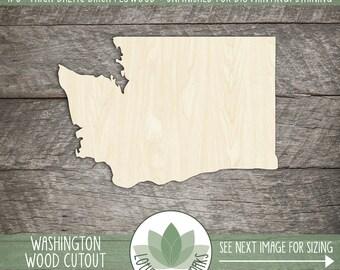 Washington, Unfinished Wood Washington Laser Cut Shape, DIY Craft Supply, Many Size Options