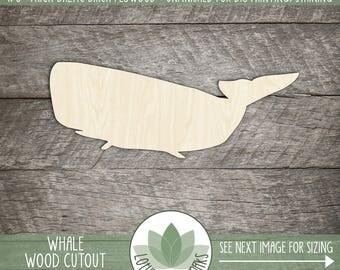 Wood Whale Shape, Unfinished Wood Whale Laser Cut Shape, DIY Craft Supply, Many Size Options