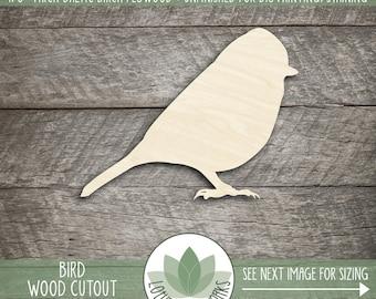 Wood Bird Shape, Unfinished Wood Bird Laser Cut Shape, DIY Craft Supply, Many Size Options