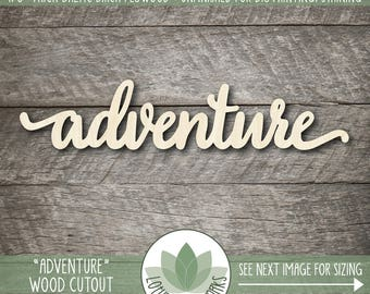 Laser Cut Wood Word, Adventure, Wood Adventure Sign, Gallery Wall Words, Nursery Decor, Wood Words