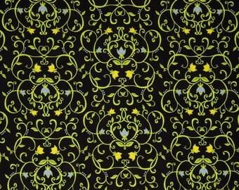 """Penny Rose Fabrics """"Meadow Sweets"""" Vine  by Jill Finley   Black"""