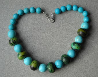 Turquoise and turquoise dyed howlite necklace