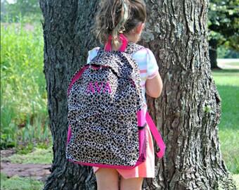 Cheetah, Leopard Print - Back Pack - Monogrammed - Back to School