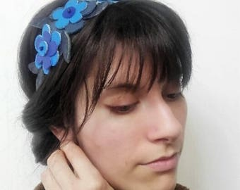 Headband, retro headband(banner) flowers of blue, turquoise blue leather.