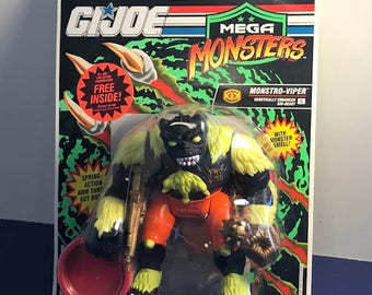 1992 HASBRO GI JOE Mega Monsters Beasts Cobra moc sealed original vintage toy Monstro Viper with monster smell