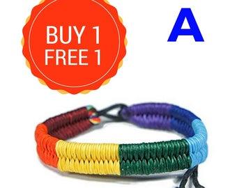 Gay pride bracelet for LGBT , Boho Hippie Rainbow Colorful bracelet , Trans gay parade jewelry , friendship bracelet , Support Ally Unisex