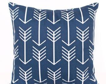 SALE ENDS SOON Navy Arrow Pillow, Navy and White Arrows Throw Pillow Cover, Boys Room Decor, Decorative Pillows, Blue Nursery Decor