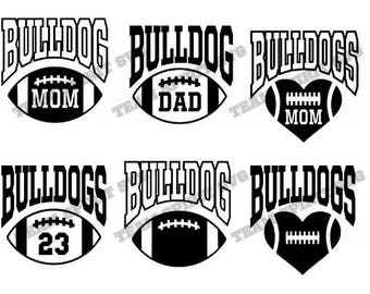 Bulldogs Big Football with Numbers Download File - SVG, DXF, EPS files, Vinyl Cut Files, Digital Cut Files -Use with Cricut and Silhouette