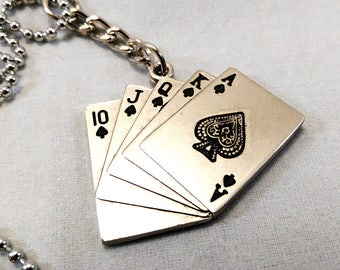 Straight Flush Playing Cards Necklace