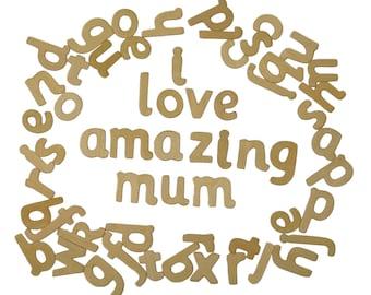 60 Craft Alphabet Wooden Lower Case Letters School Educational Font Set