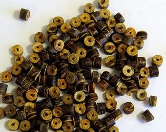 100 Brown Coconut Beads, Heishi Beads