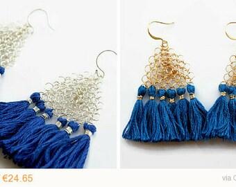 SALE 15%, Tassel earrings / Fringe earrings / triangle bohemian earrings / boho blue, silver, gold dangle earrings / wire crochet jewelry