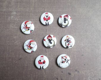 30 buttons Whitewood Father Christmas snowman 1.5 cm