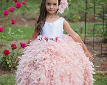 A dress sent from the heavens above, handmade couture feather satin and tulle flower girl dress