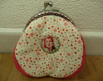 Coral and ivory vintage style purse / / romantic / / Valentine's day.