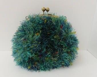 Emerald Green fur bag / / wedding bag / / ceremony bag / / knitting bag / / evening bag