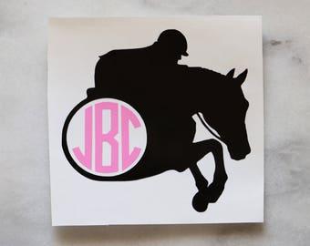 Hunter Jumper Horse Monogram Vinyl Car Decal - equestrian sticker